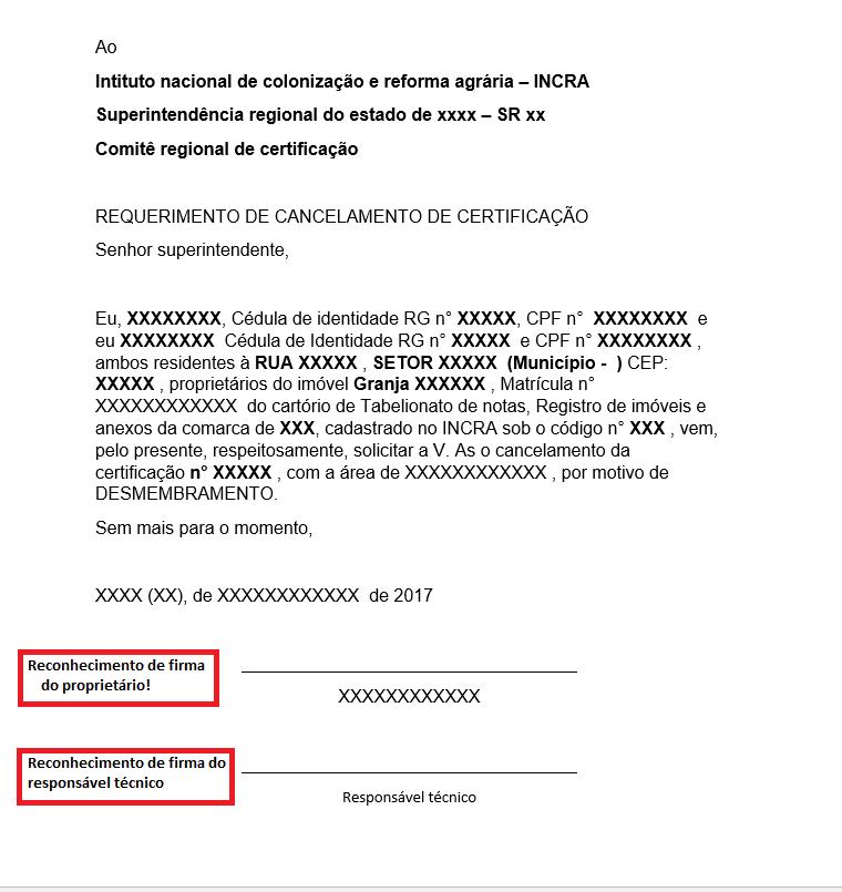 Modelo de cancalamento de certificação para desmembramento